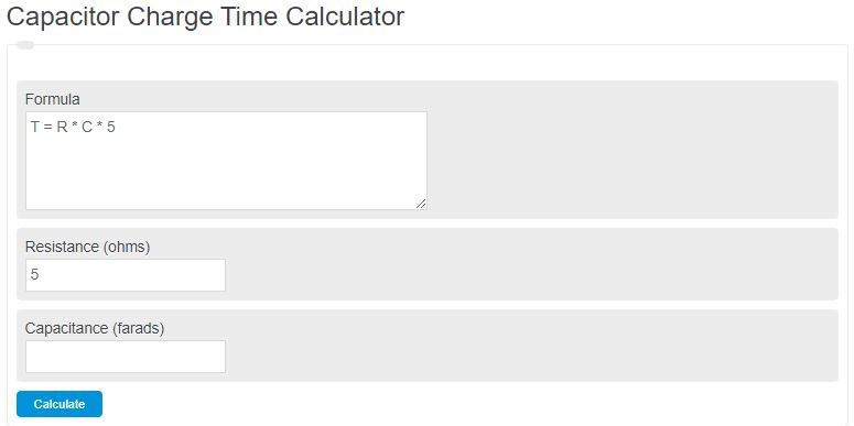 capacitor charge time calculator