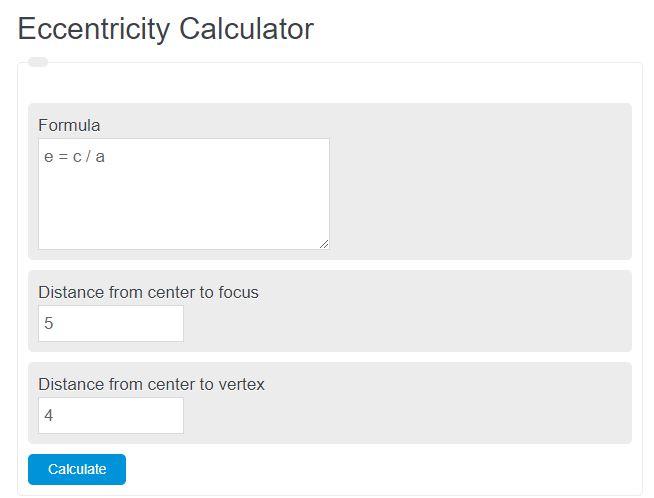 eccentricity calculator