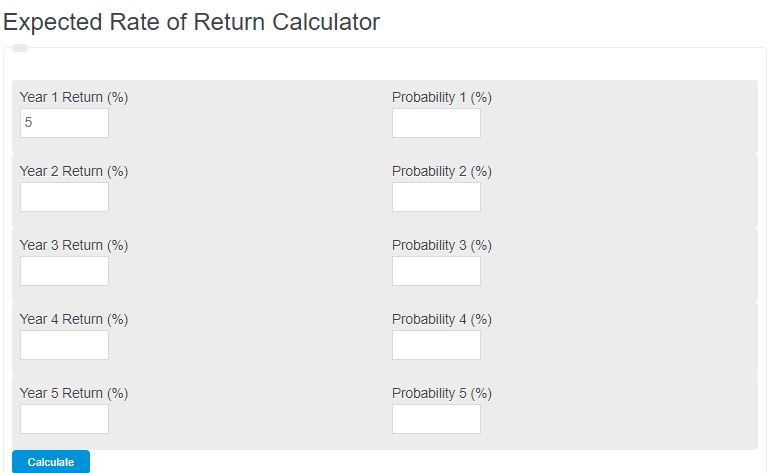 expected rate of return calculator