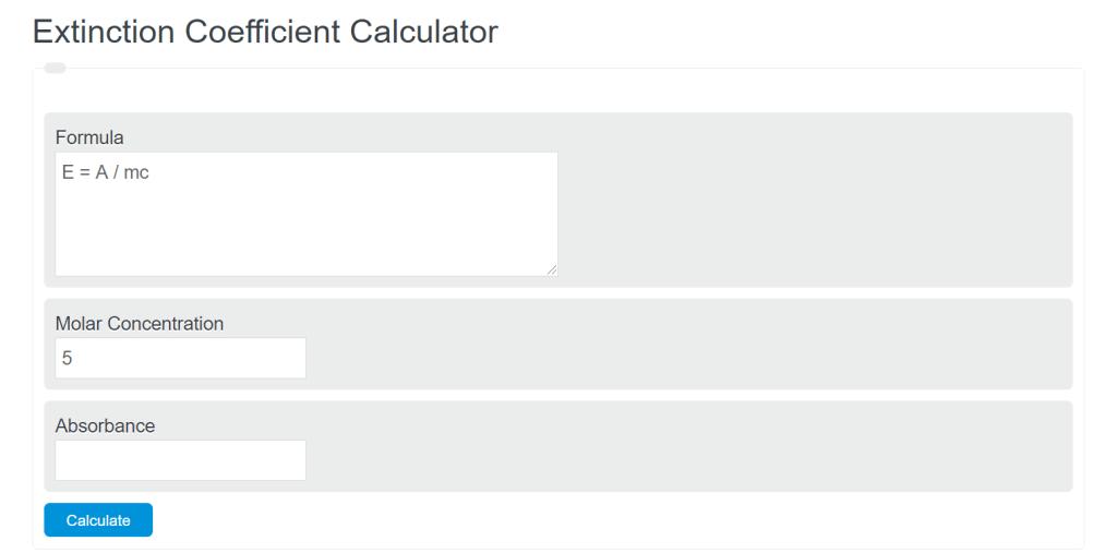 extinction coefficient calculator