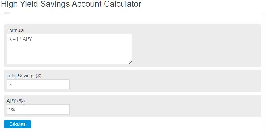 high yield savings account calculator
