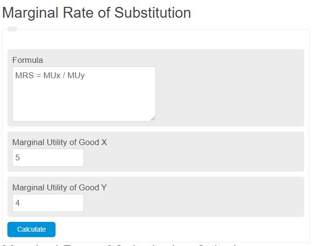 Marginal Rate of Substitution Calculator