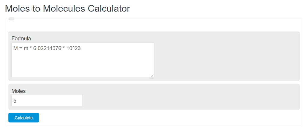 mole to molecules calculator