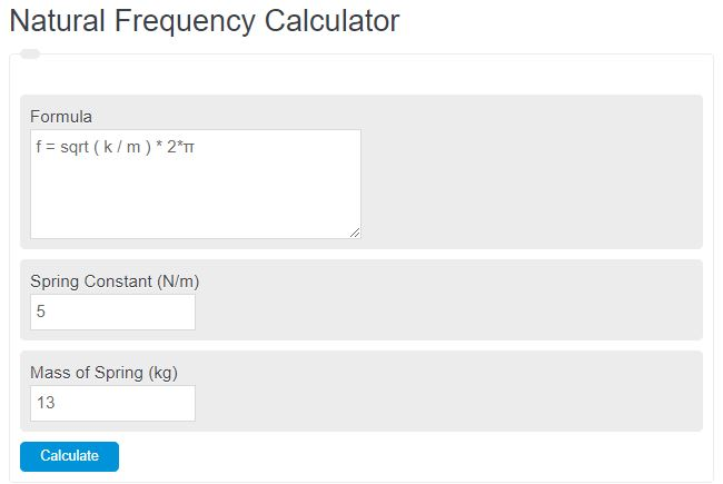 natural frequency calculator