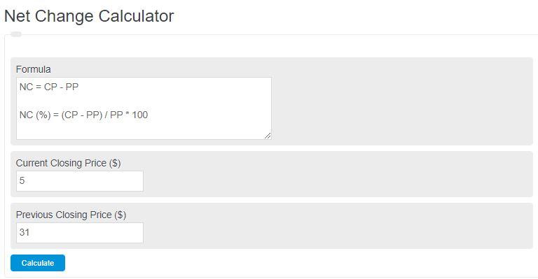 net change calculator