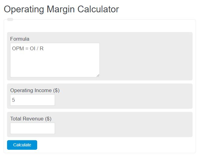 operating margin calculator