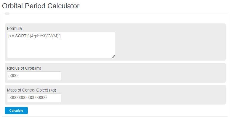 orbital period calculator
