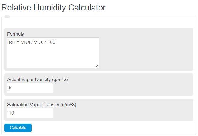 relative humidity calculator