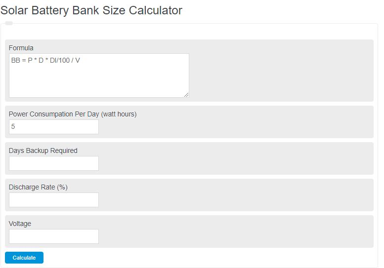 solar battery bank size calculator