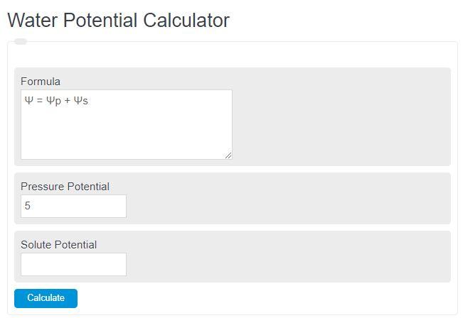 water potential calculator