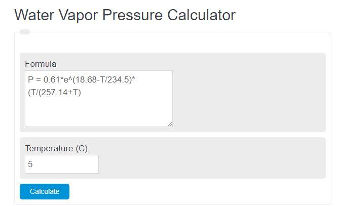 water vapor pressure calculator