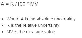 absolute uncertainty formula