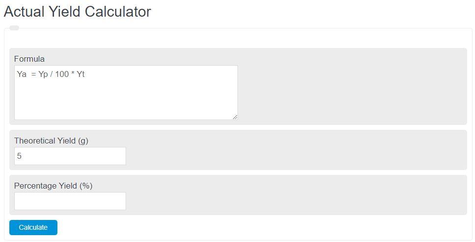 actual yield calculator