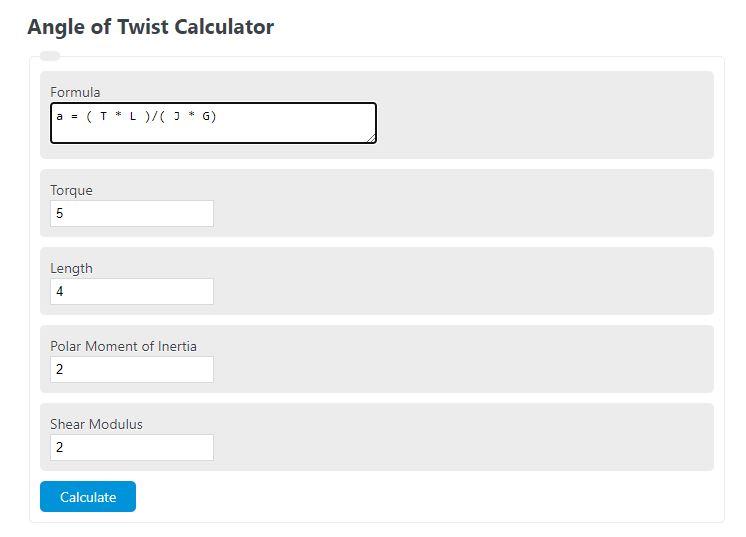 angle of twist calculator