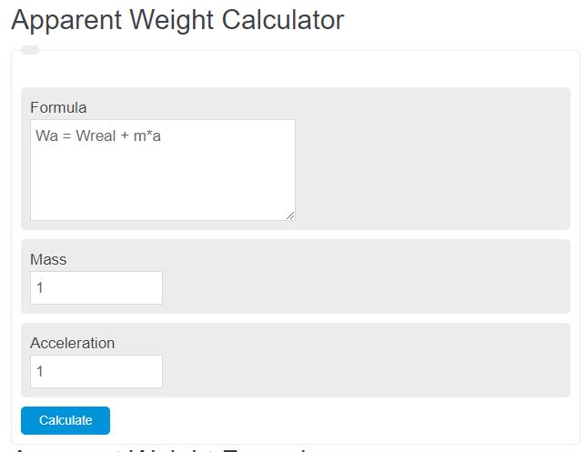 apparent weight calculator