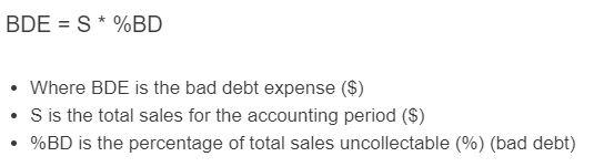 bad debt expense formula
