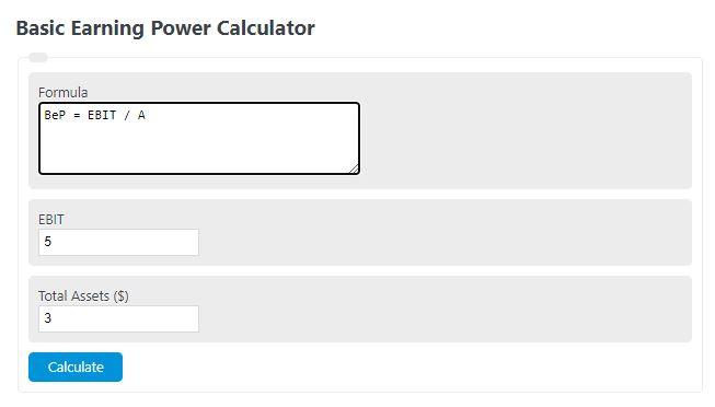 basic earning power calculator
