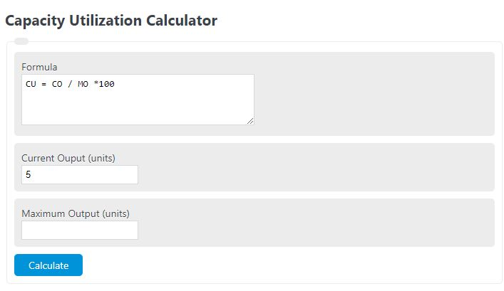 capacity utilization calculator