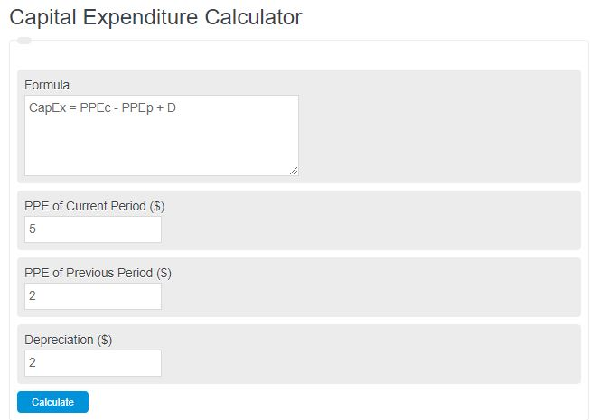 capital expenditure calculator