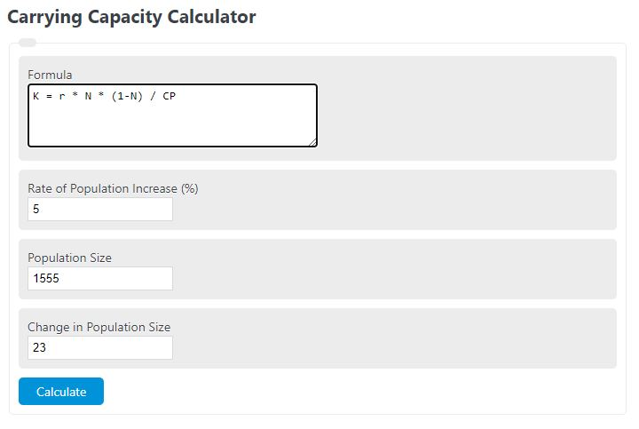 carrying capacity calculator