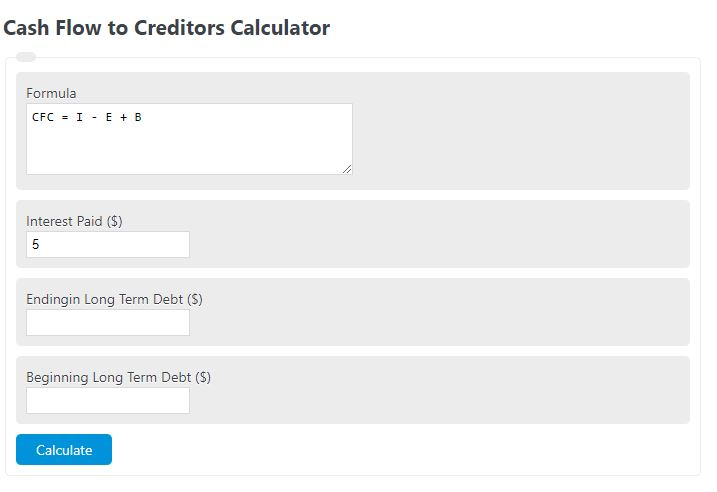 cash flow to creditor calculator