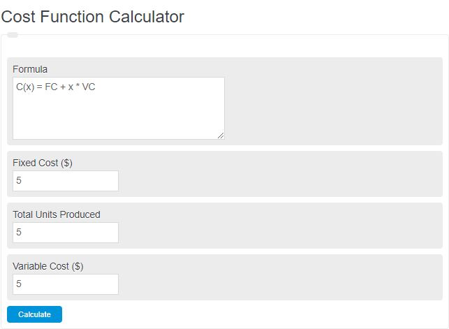 cost function calculator