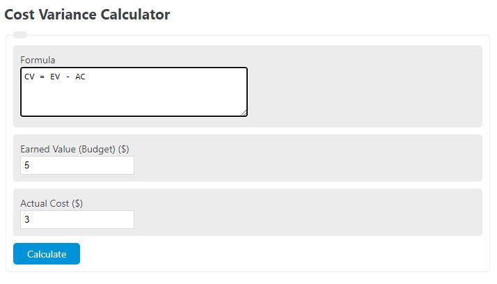 cost variance calculator