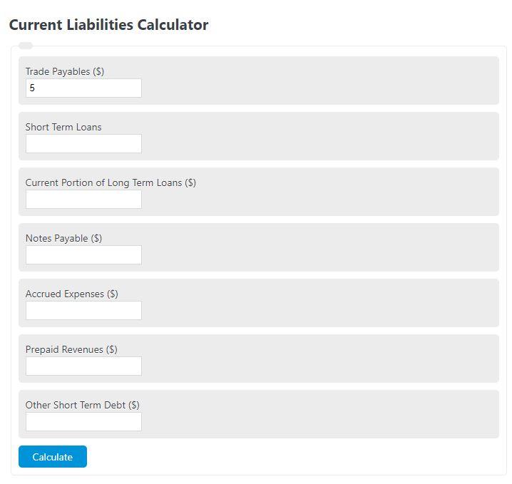 current liabilities calculator