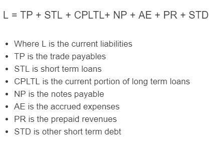 current liabilities formula