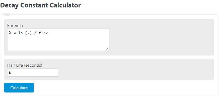 decay constant calculator