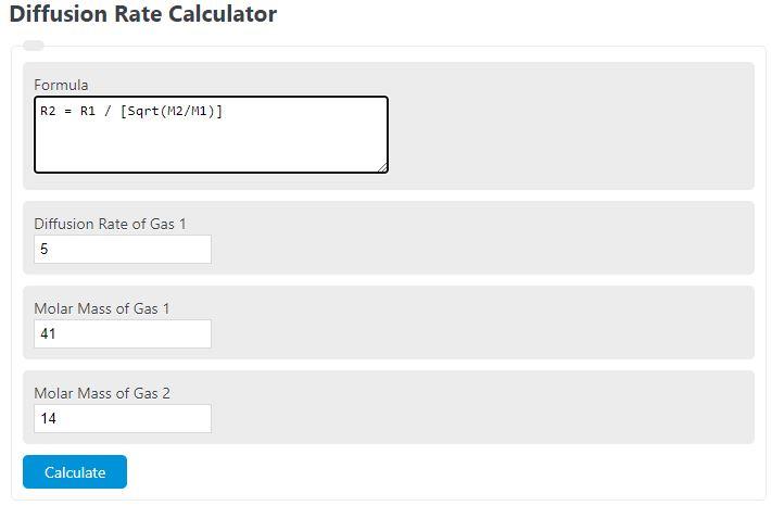 diffusion rate calculator