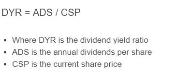 dividend yield ratio formula
