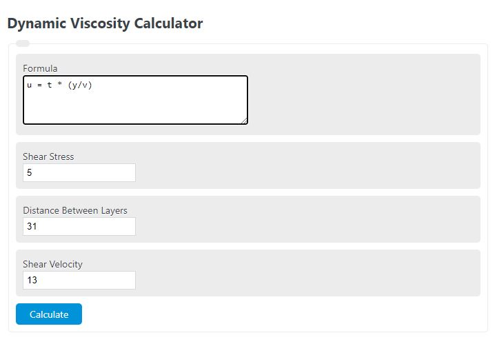 dynamic viscosity calculator