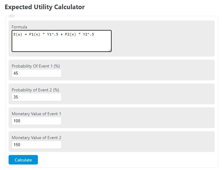 expected utility calculator