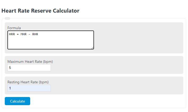 heart rate reserve calculator