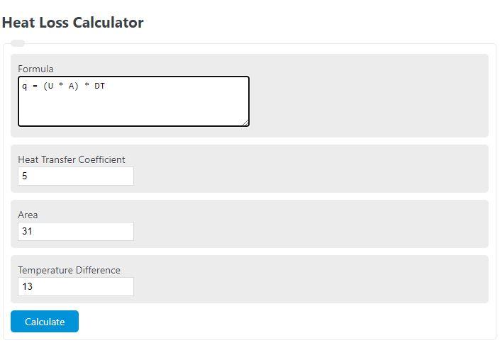 heat loss calculator