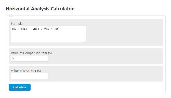 horizontal analysis calculator