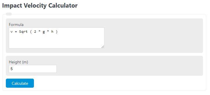 impact velocity calculator