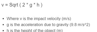 impact velocity formula
