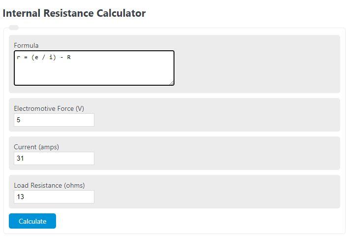 internal resistance calculator