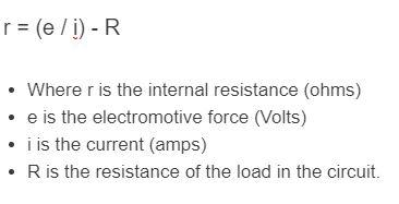 internal resistance formula