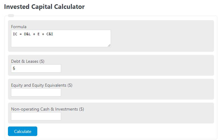 invested capital calculator