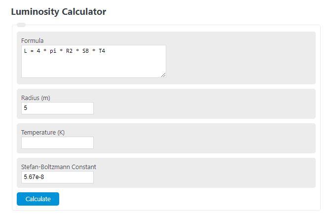 luminosity calculator