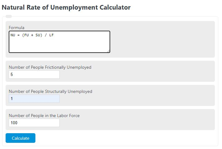 natural rate of unemployment calculator