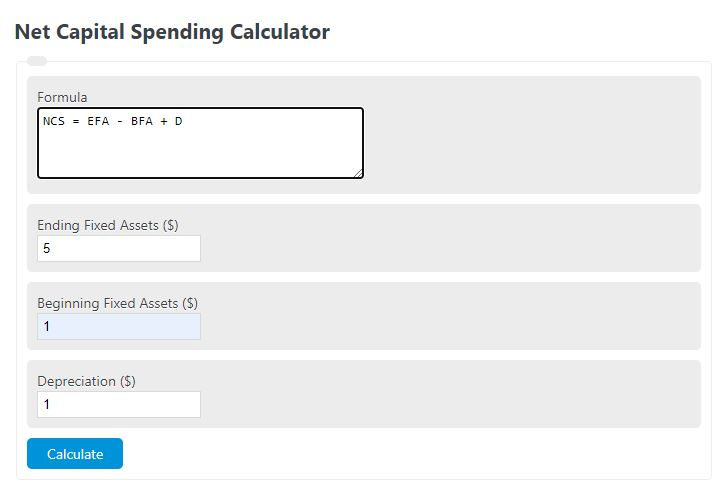 net capital spending calculator