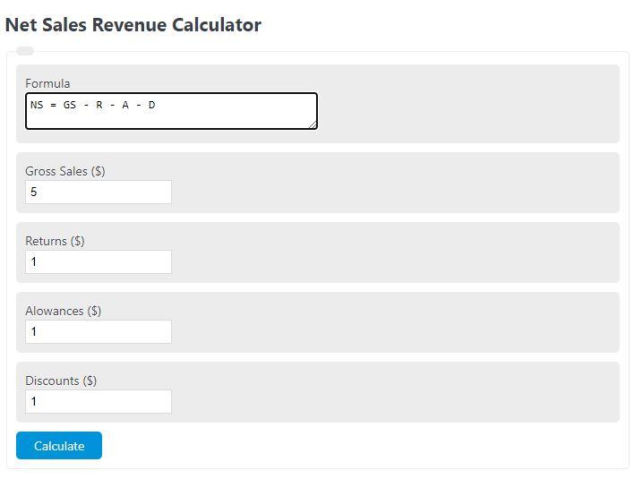 net sales revenue calculator