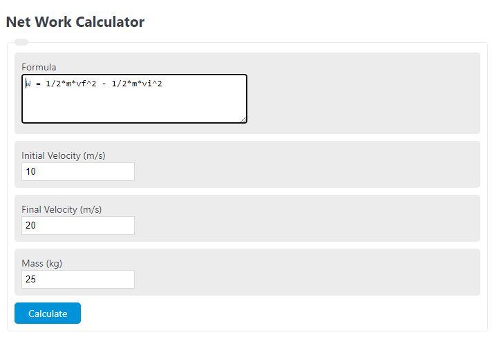 net work calculator