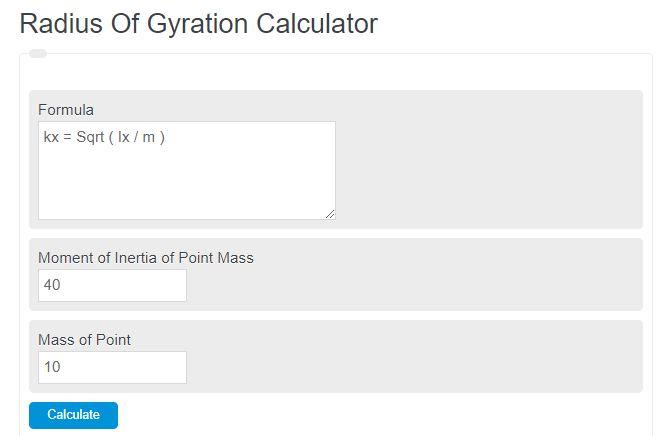 radius of gyration calculator