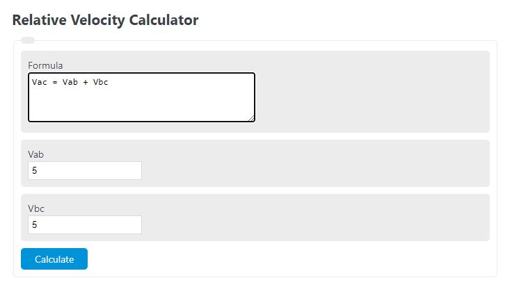 relative velocity calculator