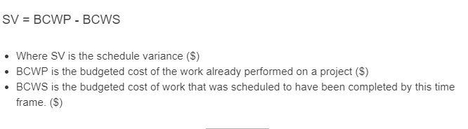 schedule variance formula